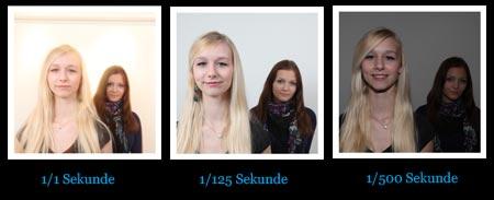die Belichtungszeit in drei Bildern - links unterbelichtet mitte korrekt belichtet und rechts unterbelichtet