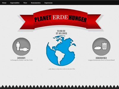 Das ist ein Screenshot der Webseite zum Planet Hunger Projekt zum ökologischen Fussabdruck