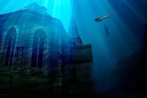 Hier das fertig bearbeitete Ergebnis: Die Kirche ist nun vollkommen unter Wasser