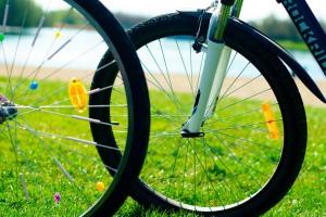 Fahrräder am Horstmarer See in Lünen. Zu sehen sind zwei Vorderräder, welche sich in der Bildmitte überschneiden.